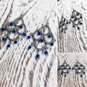 Bohemian Sapphire Blue Chandelier Earrings NWT